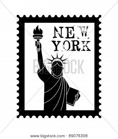 New york Stamp with liberty statue on white background