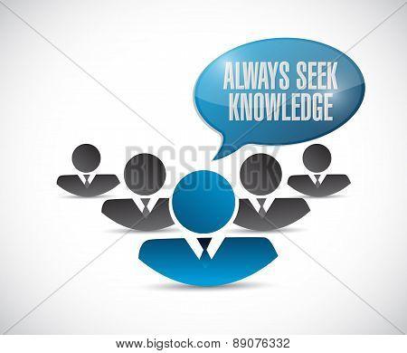 Always Seek Knowledge Teamwork Sign Concept