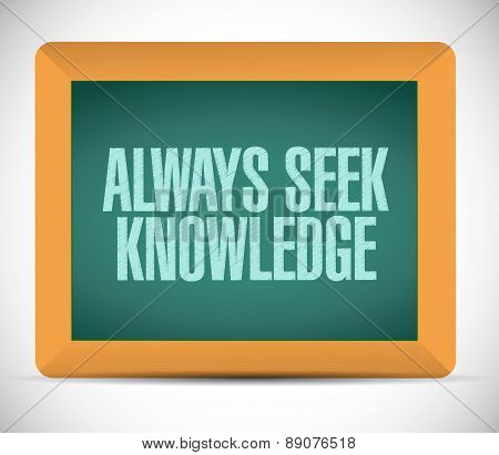 Always Seek Knowledge Board Sign Concept