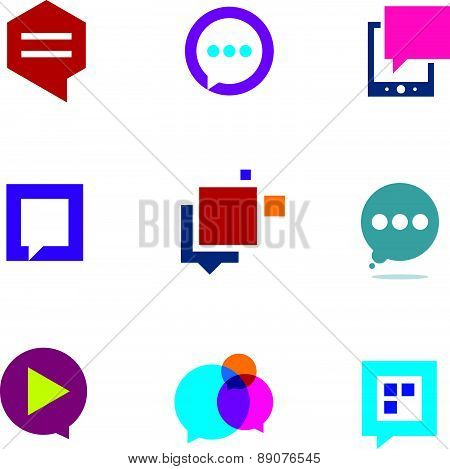 Social community share and interaction chat logo bubble message icon