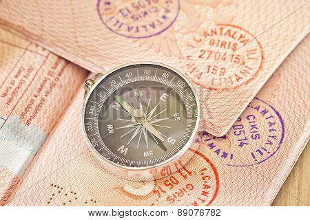 On The Page Of Passports With Visas Lies With The Compass