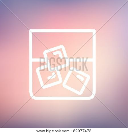 Glass of water with ice glass icon thin line for web and mobile, modern minimalistic flat design. Vector white icon on gradient mesh background.