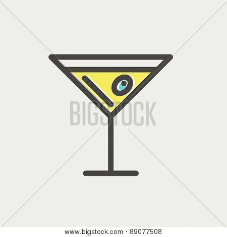 Glass of martini icon thin line for web and mobile, modern minimalistic flat design. Vector icon with dark grey outline and offset colour on light grey background.