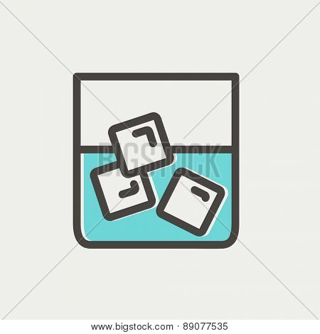 Glass of water with ice icon thin line for web and mobile, modern minimalistic flat design. Vector dark grey icon on light grey background.