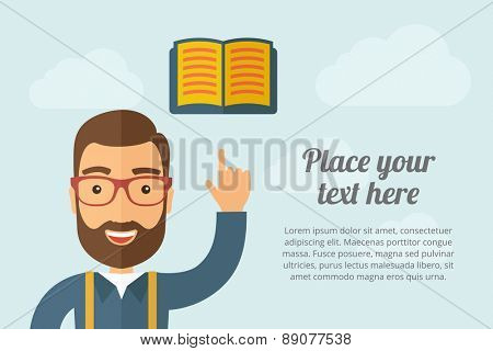 A Man pointing the book icon. A contemporary style with pastel palette, light blue cloudy sky background. Vector flat design illustration. Horizontal layout with text space on right part.
