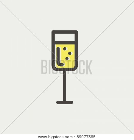 Wine glass icon thin line for web and mobile, modern minimalistic flat design. Vector icon with dark grey outline and offset colour on light grey background.