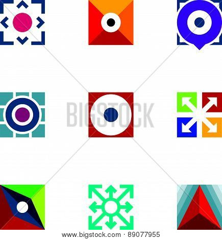 Success business arrow extension creative logo startup idea icons set