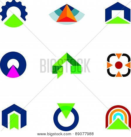 Into the success business point arrow building economic goal logos