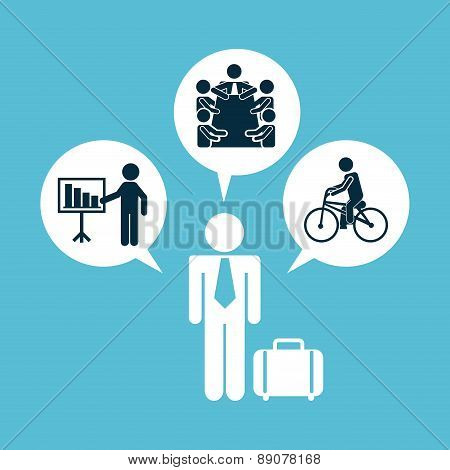 daily routine over blue background vector illustration