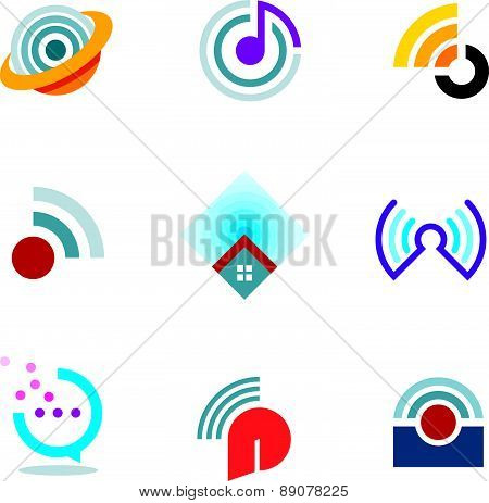 Ether world connectivity signal location positioning waves transmitting logo icons