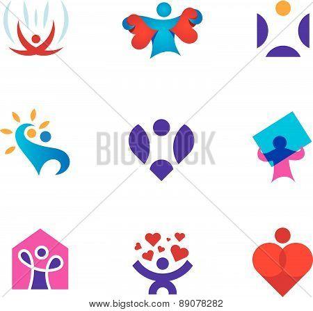Share love emotion heart shape environmental awareness logo icon set