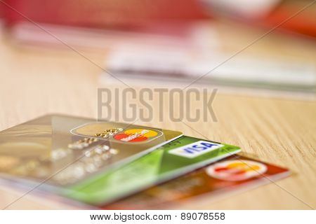 Plastic Bank Cards Visa And Mastercard Are On The Table