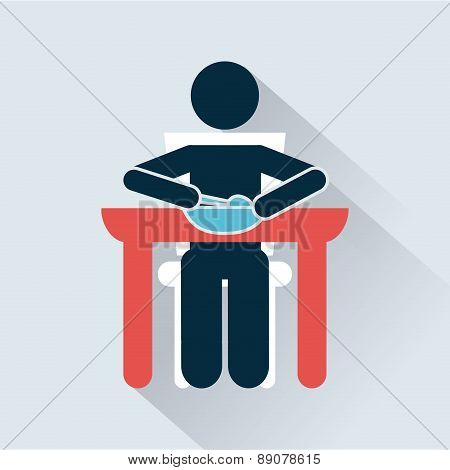 lunch design over blue background vector illustration
