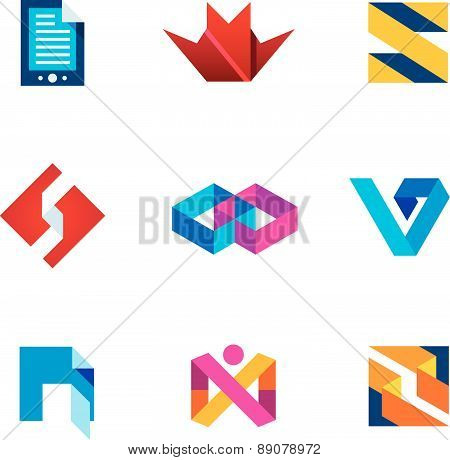 Startup innovation business innovation logo icon set next generation digital