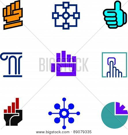 Future progress success technology foundation fist symbol logo icon set