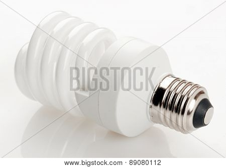 Fluorescent light bulb isolated on white background.