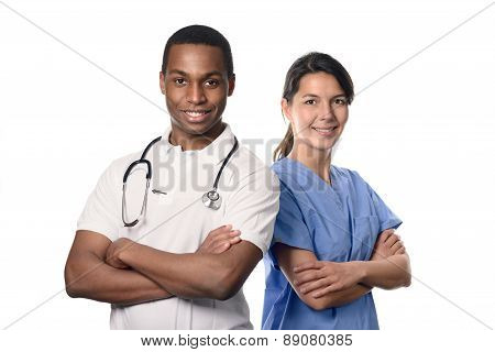 African Doctor With A Smiling Nurse