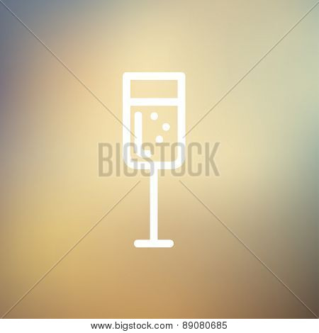 Wine glass icon thin line for web and mobile, modern minimalistic flat design. Vector white icon on gradient mesh background.