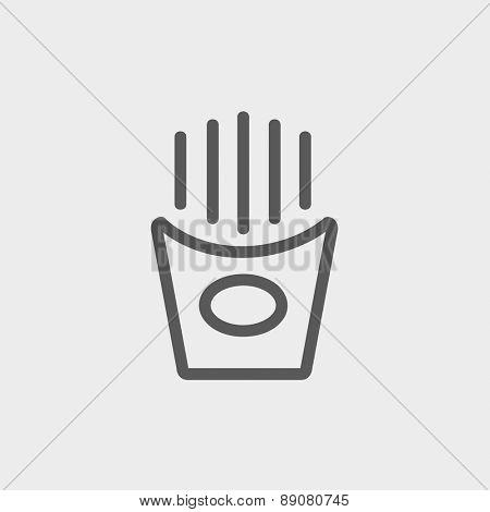 French fries icon thin line for web and mobile, modern minimalistic flat design.  Vector dark grey icon on light grey background.
