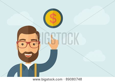 A Man pointing the dollar coin icon. A contemporary style with pastel palette, light blue cloudy sky background. Vector flat design illustration. Horizontal layout with text space on right part.