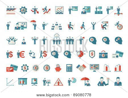 A set of business icon-people, money card, graph, calculator, bulb idea, human head icons. Vector flat design illustration.