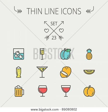 Food and drink thin line icon set for web and mobile. Set includess-pineapple, orange, ine, tequilla, beer, melon icons. Modern minimalistic flat design. Vector icon with dark grey outline and offset