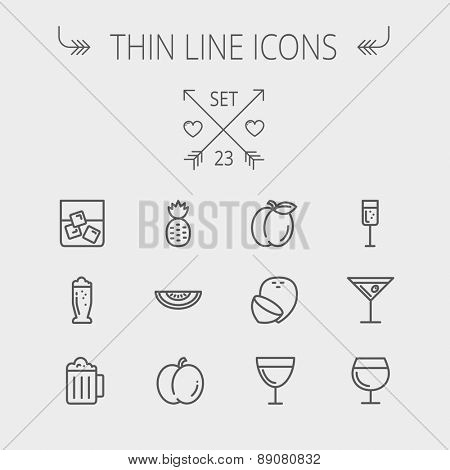 Food and drink thin line icon set for web and mobile. Set includes- pineapple, orange, ine, tequilla, beer, melon icons. Modern minimalistic flat design. Vector dark grey icon on light grey background