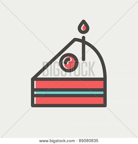 Slice of cake with candle icon thin line for web and mobile, modern minimalistic flat design. Vector icon with dark grey outline and offset colour on light grey background.