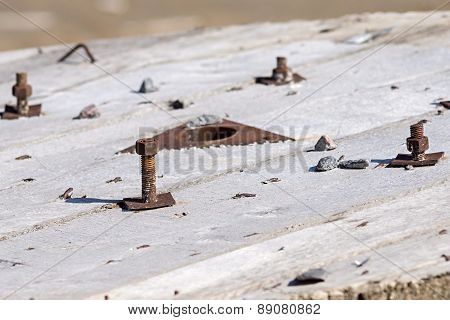 Old Rusty Bolts With Nuts
