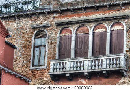 Balcony In An Old Facade