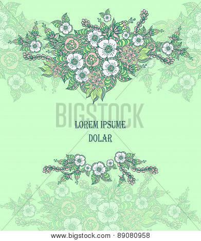 Background with spring doodle flowers in blue green