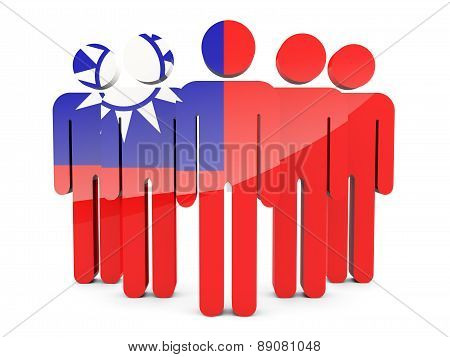 People With Flag Of Republic Of China