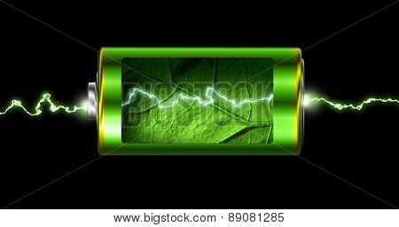 Opened Green Energy Battery Power Spark