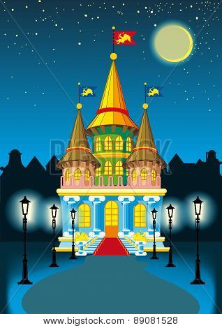 fairytale castle at night