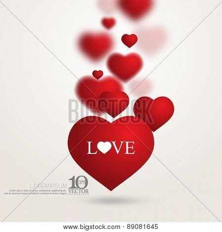 eps10 vector red floating overlapping love heart valentines day background
