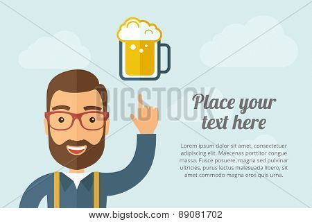 A Man pointing the mug of beer icon. A contemporary style with pastel palette, light blue cloudy sky background. Vector flat design illustration. Horizontal layout with text space on right part.