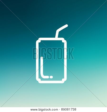 Soda can with straw icon thin line for web and mobile, modern minimalistic flat design. Vector white icon on gradient mesh background.