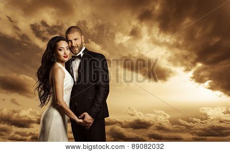 Rich Couple Portrait, Elegant Woman Dress And Man Suit With Bow Tie, Fashion Beauty