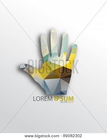 isolated geometric triangular open hand background eps10 vector