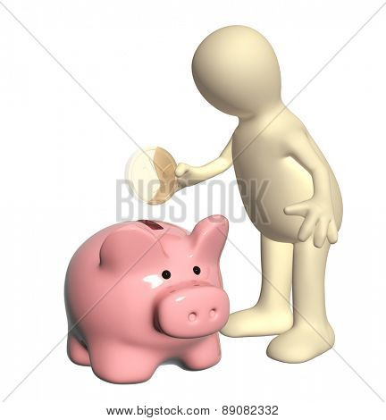 Puppet with piggy bank and coin. Isolated on white background
