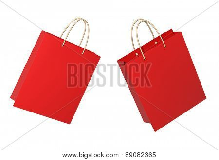 Red  shopping bags. Isolated on white background
