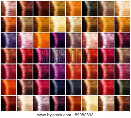 Hair Colors palette. Hair colours set. Tints. Dyed Hair Color Samples