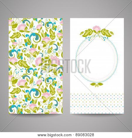 Invitation cards with abstract flowers