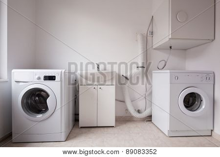 Automatic Washing Machines In Laundry