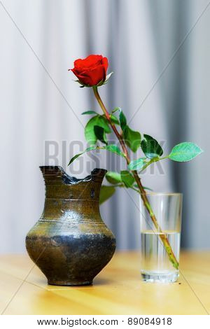 Beautiful Red Single Rose In The Glass