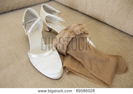 Brides Wedding Shoes And Stockings