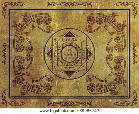 Magical Mystic Sigil Symbol Design On Parchment