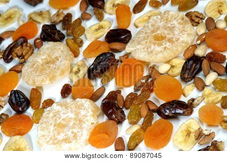 Dried raisins and nuts - close up
