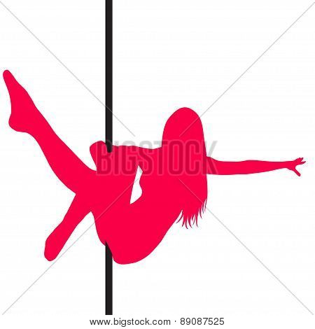 Pole Dancer Sexy Silhouette. The Vector Illustration