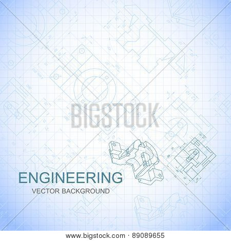 Poster, Cover, Banner, Background Of Engineering Drawings Of Parts. Notebook Sheet. Vector